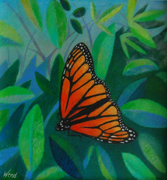 Oil Pastel Painting - Monarch Butterfly